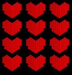 stylized hearts made of circles vector image