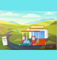summer rural landscape scene with gas station vector image vector image