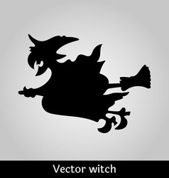 Witch flying image on grey background vector image vector image