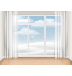 Empty room with large window vector