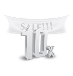 10 percent off silver sale text discount template vector image