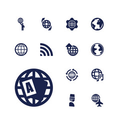13 globe icons vector image