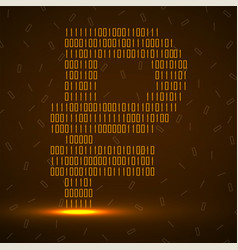abstract sign ruble binary code with neon light vector image