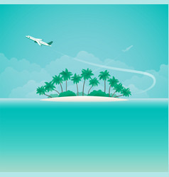 airplane travel or tropical voyage banner with vector image