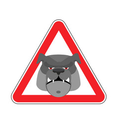 angry dog warning sign red bulldog hazard vector image