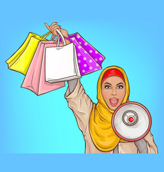 Arabic woman with loud speaker and shopping bags vector