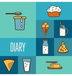 Assortment of dairy products square composition vector image