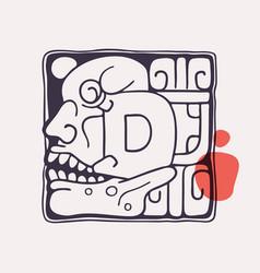 Aztec style letter d initial vector