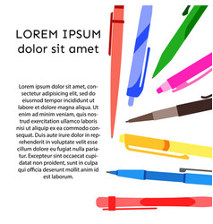 background with pens and pencils vector image