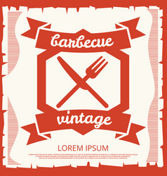 barbecue party vintage poster design with emblem vector image