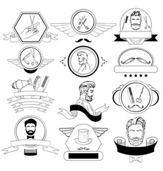 barber shop set for logos labels badges vector image