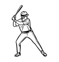 baseball player ready to hit ball black white vector image