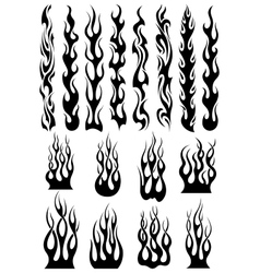Black tribal flames set vector