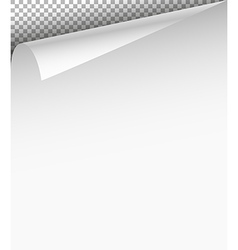 Blank paper sheet with bending corner on vector image vector image