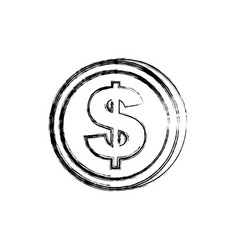 Blurred silhouette coin in vertical position vector