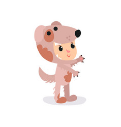 boy or girl character in adorable brown puppy vector image