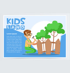 boy repairing fence with hammer eco concept kids vector image