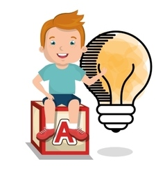 Boy studying isolated icon design vector