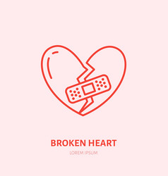 broken heart heartbreak flat line vector image