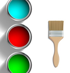 buckets of paint and paint brush vector image