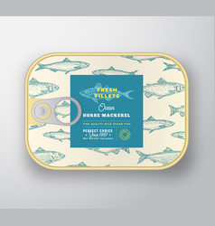 Canned fish label template abstract vector