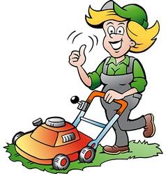 Cartoon a handy gardener woman with a lawnmower vector