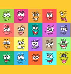 Cartoon doodle face expressions set vector