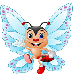 Cartoon funny butterfly waving hand vector
