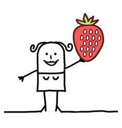 Cartoon happy woman with strawberrie vector