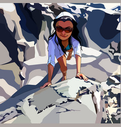 cartoon woman in sunglasses climbing mountains vector image vector image