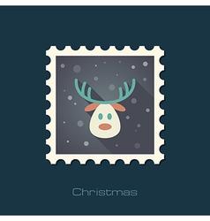 Christmas reindeer flat stamp vector
