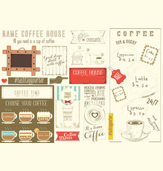 coffee menu placemat vector image