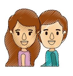 Color crayon stripe caricature side view half body vector