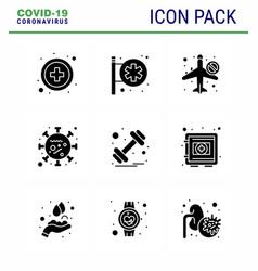 Coronavirus 9 solid glyph black icon set vector