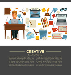 creative profession writer and writing items vector image