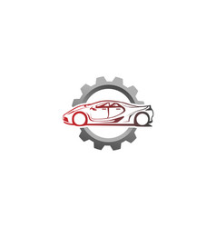 creative red car gear design logo vector image