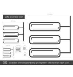 Data structure line icon vector