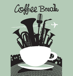 decorative banner with an inscription coffee break vector image