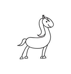 Doodle horse animal icon vector