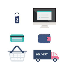 E-commerce icons set computer with price tag vector