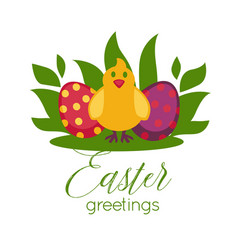 Easter greeting card paschal eggs and chick vector