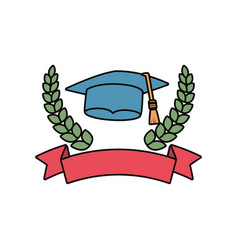 emblem with graduation hat icon vector image