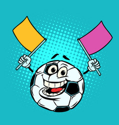 fan with flags football soccer ball funny vector image