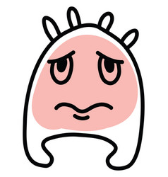 Fat sad monster icon on white background vector