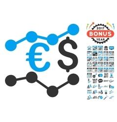 Financial Trends Icon With 2017 Year Bonus Symbols vector image