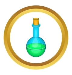 Flask with green potion icon vector