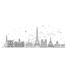 france skyline with panorama in white background vector image