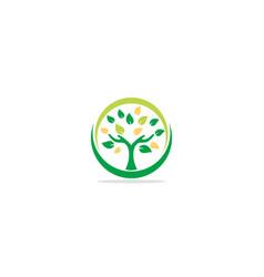 Green tree botany hand logo vector