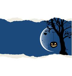 halloween background with pumpkin is hanging vector image