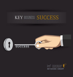 hand unlock key success business vector image